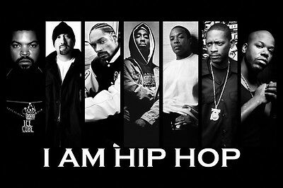 Hip Hop Rap Ice Cube Snoop Dogg Tupac Shakur Dr Dre Black-White Poster 24x36