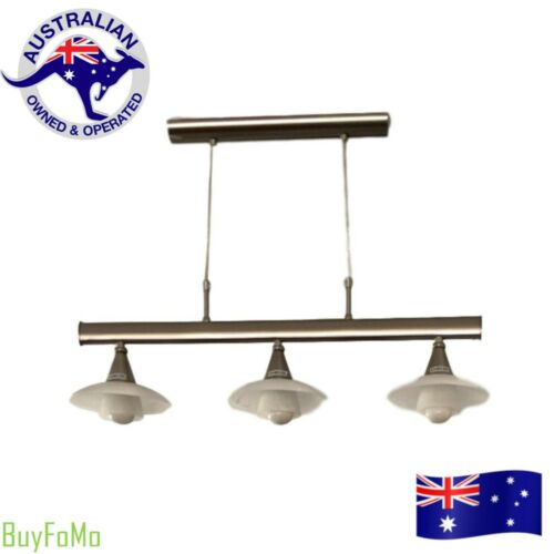 Modern Stainless Steel Three Light Adjustable Kitchen / Bar / Billiard Lamp