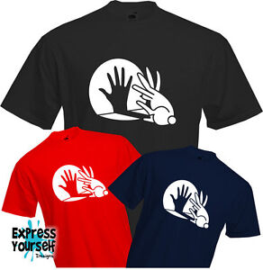 BUNNY-HAND-SHADOW-T-Shirt-Unusual-Funny-Great-Rabbit-Cool-Quality-NEW