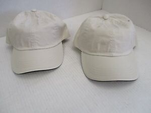 1 PAIR OF NEW-VINTAGE SOLID KHAKI Caps//Hats-5 PANEL-ROPE-BROWN STRAP-OC A243