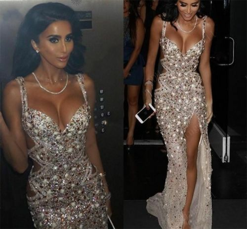 2017 Champagne Prom Evening Party Dress Spaghetti Sequins Crystal Celebrity Celebrity Celebrity Gown 5caeed