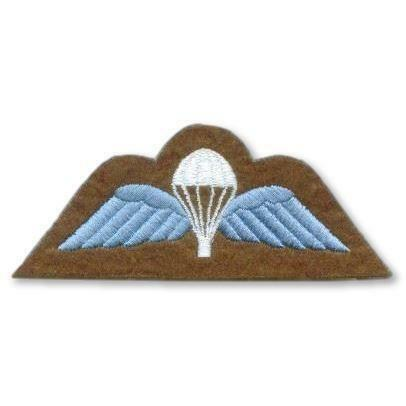 Sky Blue on Khaki Para Wings Embroidered Badge Pair