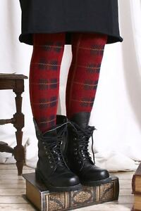 Punk-Preppie-School-Uniform-Thermal-Leg-Warmer-Bright-Red-Tartan-Plaid-Check