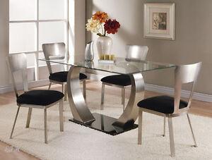 New Mesilla Contemporary Glass Top Black Gloss Chrome Metal Dining Table Set Ebay