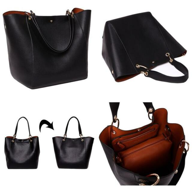 Sqlp Women Las Leather Tote Bag Handbag Shoulder Black Style Fashion Bags