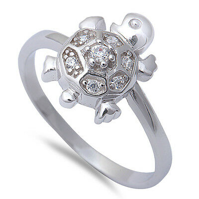 New Cz Turtle .925 Sterling Silver Ring Sizes 5-8