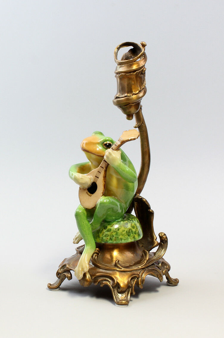 9937237/8 h26cm paire chandeliers bronze Céramique grenouille avec flute/Sons h26cm 9937237/8 2594d9
