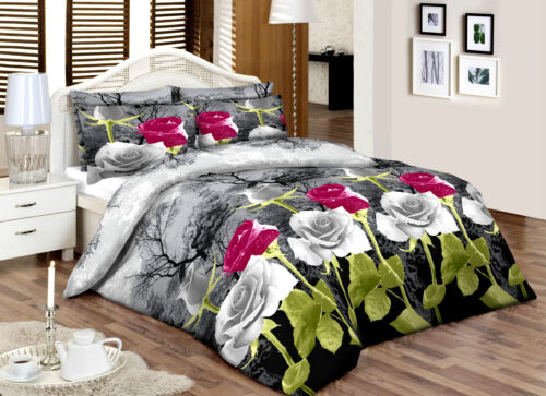 PurpleGreyRose/_/_Double/_/_100/%Cotton Top Percale Quality Printed Duvet Cover Set
