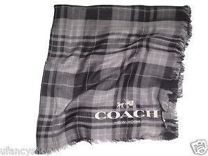 COACH-Tartan-Plaid-Scarf-100-Modal-54-034-x54-034-Oversized-in-Grey