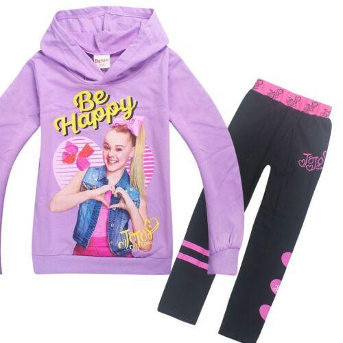 2PC Kids Girls Jojo Siwa Hoodies Casual Cartoon SweatShirts Black Pant Outfits