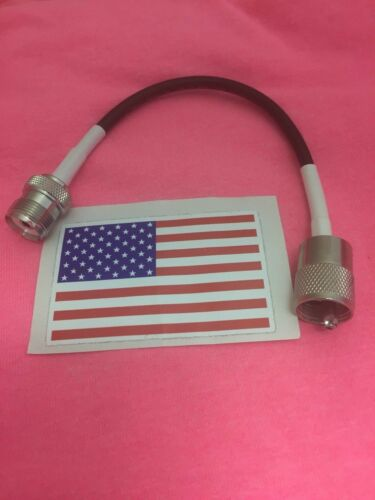 """8/"""" PL-259 UHF MALE PLUG TO SO-239//PL-259 FEMALE JACK JUMPER PIGTAIL MADE IN USA"""