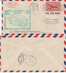 US-1948-AM-87-FIRST-FLIGHT-FLOWN-COVER-LOUISVILLE-KY-TO-DURHAM-NORTH-CAROLINA