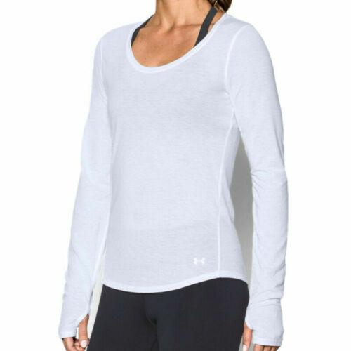 Under Armour UA Threadborne Ladies Charged Run White Long Sleeved Running Top