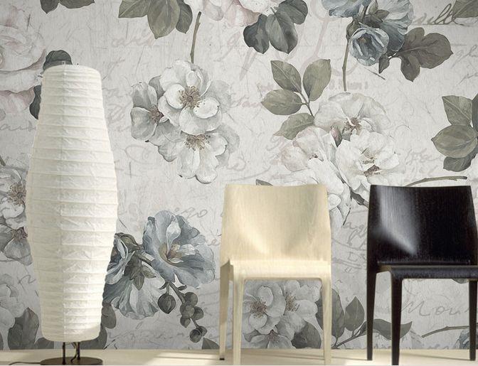 3D fiori neri 2 Parete Murale Carta da parati immagine sfondo muro stampa