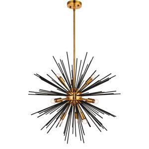 Pleasing 10 Light 26 Sputnik Antique Brass And Flat Black Dining Interior Design Ideas Tzicisoteloinfo