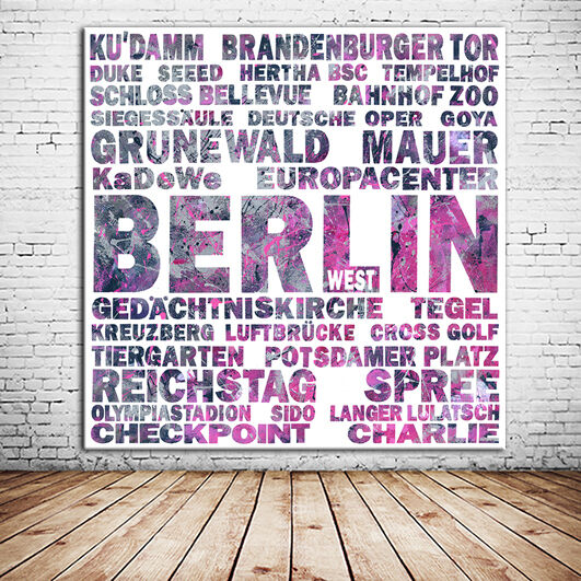 BERLIN CALLING 1  + Berlin LEINWAND BILD + 60x60 cm + EINMALIG zum BESTPREIS