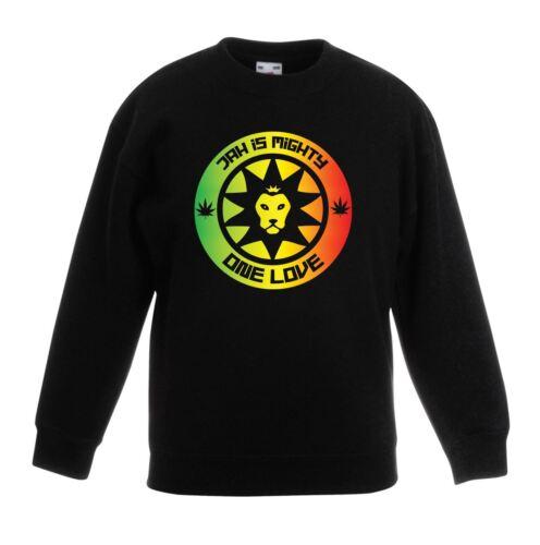 Jah è Mighty Reggae Bambini Unisex Felpa Maglione-Rasta Bob Marley