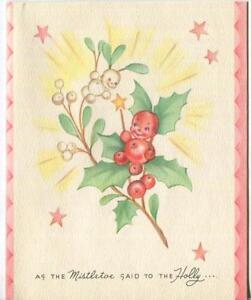 Vintage Christmas Mistletoe Holly Smiling Friends Cartoon Stars