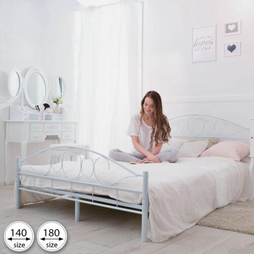 Lattenrost 180x200 cm Schlafzimmerbett Bettgestell Metall Bett Doppelbett weiß