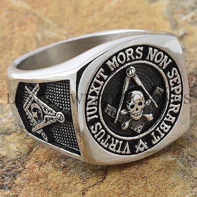 Scottish Rite Mens Masonic Ring Skull & Bones Square Mason Freemason Size 9-15