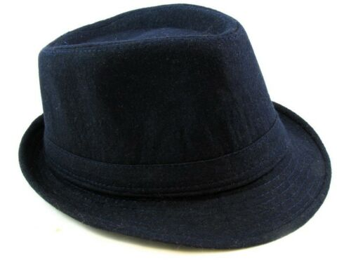 Cotton Fedora Hat Cap trilby Mens Navy Felt Womens Unisex fashion style NEW