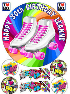 EDIBLE-ICING-80s-ROLLER-SKATES-BOOTS-PERSONALISED-HAPPY-BIRTHDAY-CAKE-TOPPER