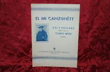 Spartito Canzone in Dialetto Bolognese di Carlo Musi L'A - J Passarà 1939