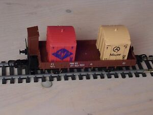 LIMA-echelle-HO-Ref-3181-WAGON-PLAT-A-BORDS-BAS-DOSSIERS-2-CONTAINER