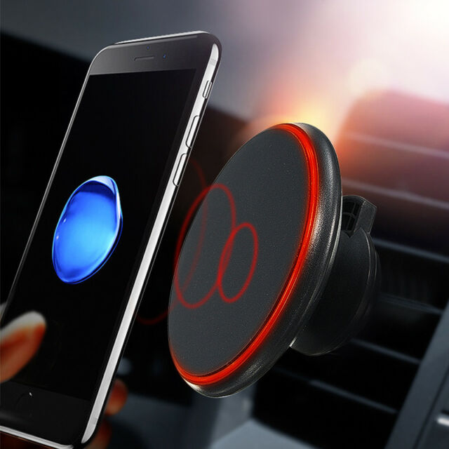 360° LED Qi Wireless Car Auto Charger Magnetic Air Vent Mount Holder For Samsung