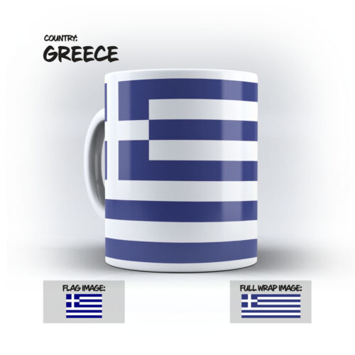 10Oz Coffee Mug Full Wraparound Print GR Greece Flag Mug
