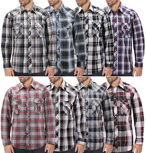 Men-s-Casual-Western-Button-Down-Pearl-Snap-Plaid-Cowboy-Long-Sleeve-Shirt