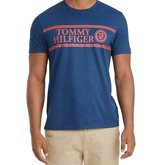 Tommy Hilfiger Mens Shirt Blue Size XL Graphic Tee Logo Short Sleeve $39 #087