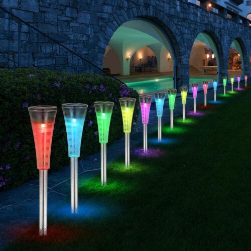 15x DEL Extérieur Steck piquet lampe en acier inoxydable couleur jardin solaire
