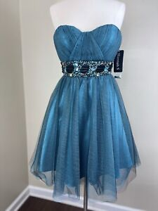 Hannah S Dress Blue Black Beaded Crystals Strapless Prom Pageant Quinceanera
