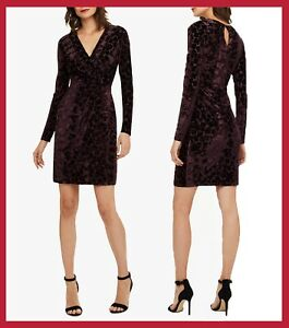 Sleeves Grape Long Vevet Work Stella Eight 38 Dress Wrap Phase 10 Casual Formal Fxwfqw