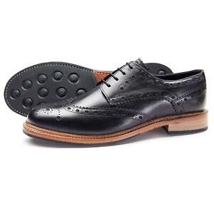 Samuel-Windsor-Men-039-s-Davington-Leather-Brogue-Shoes-Smart-Lace-Up-UK-Size-5-14