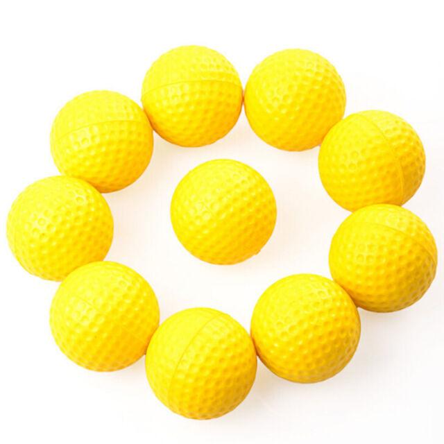 10pcs PE Plastics soft Golf Balls Indoor Outdoor Practice Training YellowCei TB
