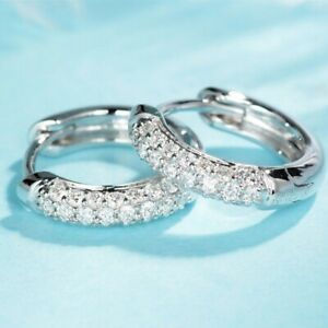 Fashion-925-Silver-Hoop-Earring-for-Women-White-Sapphire-Jewelry-A-Pair-set