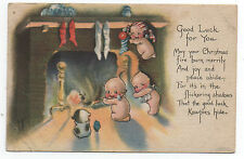 1915 Christmas Postcard with Rose O' Neill Kewpies by Fireplace