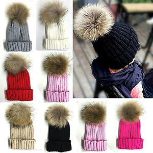 e051a6270f9 Image is loading Childrens-Boys-Girls-Ribbed-Knitted-Beanie-Bobble-Hat-