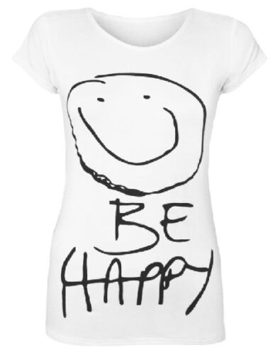 NEW LADIES WOMEN FASHION BE HAPPY PRINT T SHIRTS SMILEY FACE CASUAL TOP 8-14