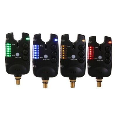 4PCS LED Angelrute Bissanzeiger Rot Licht Doppel Glocken Clip Warndienst Ein #S