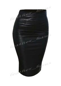 Premium Genuine Leather Pencil Lady Skirt Knee Length Office Lady Club Skirt #S1