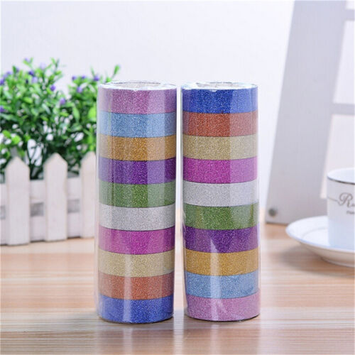 10x Glitter Washi Paper Adhesive Tape DIY Craft Sticker Masking Decor 1.5cmx3m D