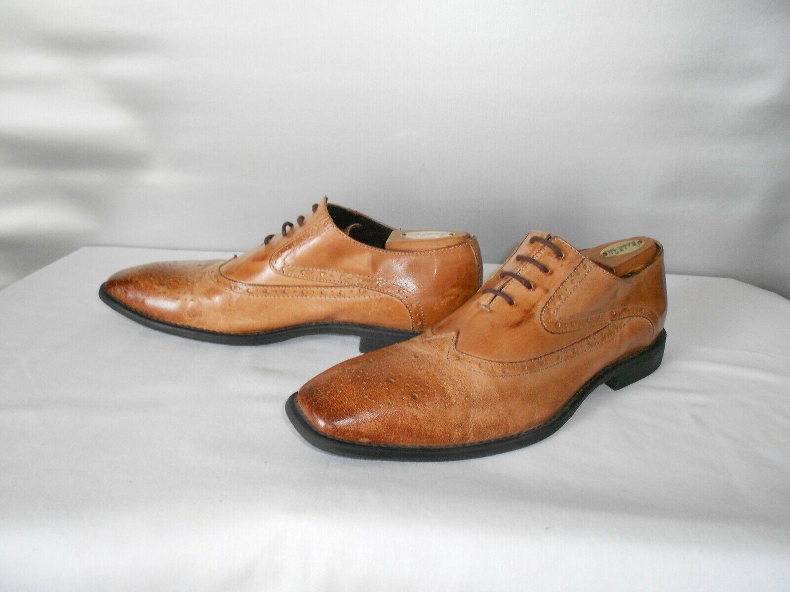Men's J75 By Jump Windsor British Tan Leather Dress Wingtip Oxfords Size 11 D