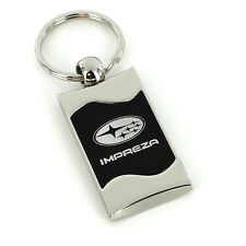 Subaru Impreza Black Spun Brushed Metal Key Ring