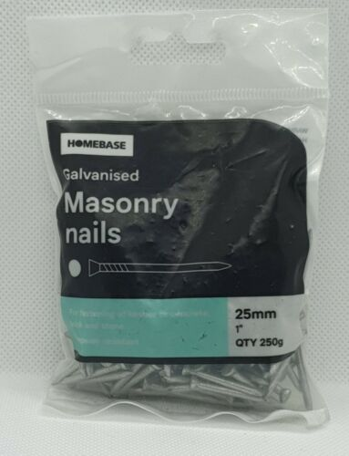 250g Galvanised Masonry Nails 2.5mm Thickness 200 Nails Clearance 25mm Length