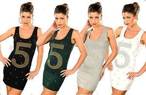 top-lungo-mini-abito-donna-vestito-strass-borchie-n-5-cotone-elastico