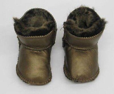 Baby Gold Kupfer Snugg Schafsfell Schuhe Pantoffel lia-couture Braun Designer