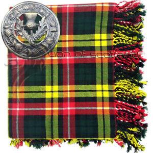 Highland-Kilt-Fly-Plaid-Buchanan-Tartan-Acrylic-48-034-x-48-034-Thistle-Brooch-Antique